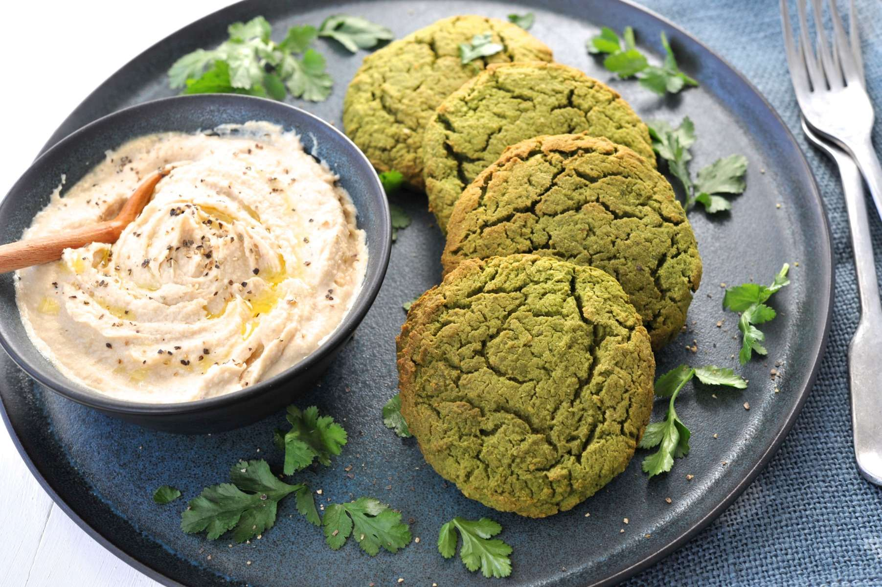 BAKED CHICKPEA FALAFELS with Roasted Cauliflower Buckwheat Salad and Tangy Tahini Dip
